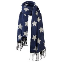 Fat Face Star Jacquard Scarf Navy