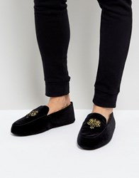 Dunlop Embrioded Loafer Slippers Black Velvet Black