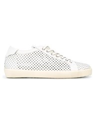 Leather Crown Laser Cut Trainers White
