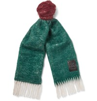 Loewe Colour Block Wool And Mohair Blend Scarf Burgundy