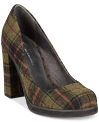 Bc Footwear Bc Turf Casual Platform Pumps Women's Shoes Green Plaid