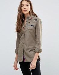 Brave Soul Utility Shirt With Badges Khaki Green