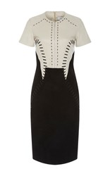Prabal Gurung Studded Leather Short Sleeve Sheath Dress Multi