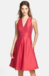 Women's Alfred Sung V Neck Dupioni Cocktail Dress Sangria