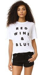 Wildfox Couture Red Wine And Blue Tee Clean White