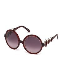 Emilio Pucci Waved Gradient Round Sunglasses Red