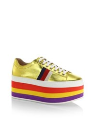 Gucci Peggy Metallic Leather Rainbow Platform Sneakers Gold
