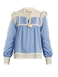 Sea Column Lace Trimmed Chambray Top Light Blue