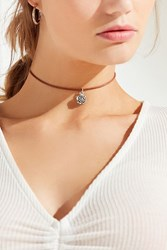 Urban Outfitters Leather Floral Charm Choker Necklace Brown