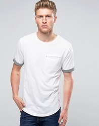 Ringspun Pocket T Shirt With Rolled Up Cuffs And Curved Hem White