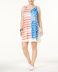 Ing Plus Size Tank Stars And Stripe Print Dress Red White Blue