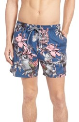 Ted Baker Peter Millar Elms Parrot Trim Fit Swim Trunks Dark Blue