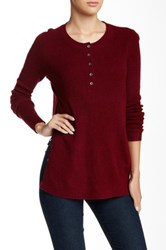 White Warren Ribbed Cashmere Henley Red
