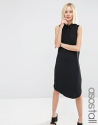 Asos Tall Sleeveless Woven Mix Shirt Dress Black