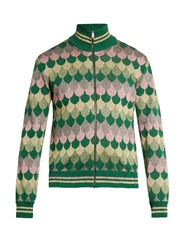 Gucci Zip Through Roll Neck Wave Jacquard Sweater Multi