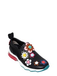 Fendi 30Mm Studded Flowers Leather Sneakers