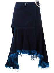 Marques Almeida Marques'almeida Cutout Raw Edge Skirt Blue