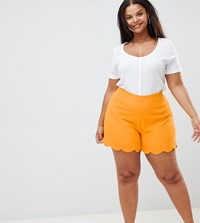 Alice And You Plus Scallop Detail Shorts Yellow