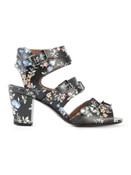Laurence Dacade Flower Print Buckled Sandals Black