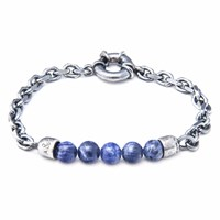 Anchor And Crew Blue Sodalite Stern Stone Silver Bracelet