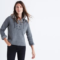 Madewell Lace Up Pullover Sweater Hthr Grey