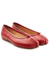 Maison Martin Margiela Leather Split Toe Ballerinas Red