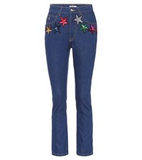 Attico Sequinned High Waisted Jeans Blue