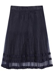 Clu Navy Pleated Organza Skirt