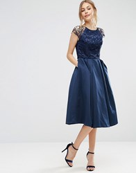 Chi Chi London Lace Cap Sleeve Dress With Full Skirt Navy