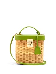 Mark Cross Benchley Rattan And Leather Shoulder Bag Green