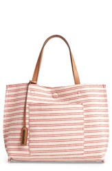 Street Level Reversible Stripe And Faux Leather Tote