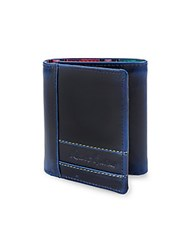 Robert Graham Leather Tri Fold Wallet Navy