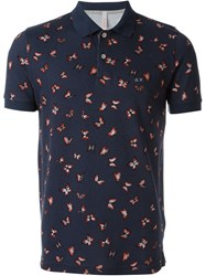 Sun 68 Butterfly Print Polo Shirt Blue