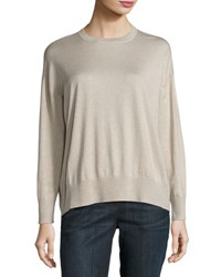 Brunello Cucinelli Long Sleeve Metallic Cashmere Sweater Gold