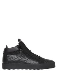 Giuseppe Zanotti Laser Cut Leather Mid Top Sneakers