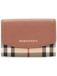 Burberry Horseferry Check Wallet Women Calf Leather Polyester One Size Brown