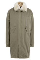 Yves Salomon Cotton Parka With Fur Collar Green