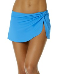 Anne Cole Knot Front Sarong Swim Skirt Sky