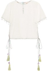 Matthew Williamson Pompom Embellished Lace Top White