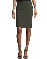 Escada Pencil Skirt W Basketweave Back Olive Green