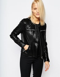 Selected Isabello Leather Jacket With Quilted Shoulder Detail Selected Isabello Le Black
