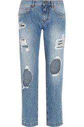 Dolce And Gabbana Distressed Mid Rise Slim Boyfriend Jeans Light Denim
