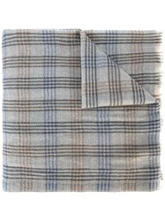 Loro Piana Checked Scarf Grey
