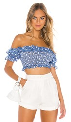 Majorelle Everly Top In Blue. Blue Ditsy