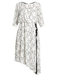 Osman Gigi Face Print Asymmetric Crepe Dress Black White