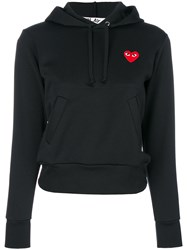 Comme Des Garcons Play Logo Hoodie Polyester Black
