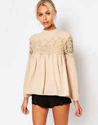 Fashion Union Pretty Lace Blouse Nude Beige