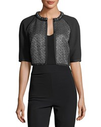 Carmen Marc Valvo Cropped Metallic Tweed Cocktail Jacket Black