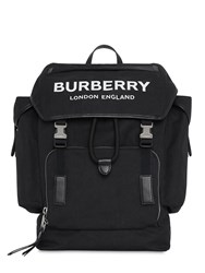 Burberry Logo Cotton Blend Backpack Black