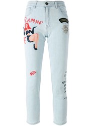 Mr And Mrs Italy Tattoo Print Embellished Jeans Blue